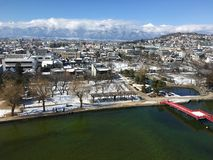 Matsumoto city covered by snow aerial view in Nagano Japan Stock Photography