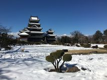 Matsumoto crow castle main tower on a snow day in Japan Royalty Free Stock Images