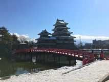 Matsumoto crow castle main tower on a snow day in Japan Stock Image