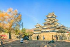 Matsumoto JAPAN - December 13, 2017: Matt Matsumoto slott Royaltyfri Bild