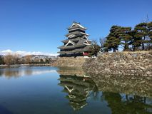 Matsumoto crow castle main tower on a snow day in Japan Royalty Free Stock Photo