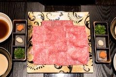 Matsusaka beef  Shabu Set. Matsusaka beef A5 Wagyu Beef Shabu shabu Set with steam, Groumet Japanese hot pot cuisine Royalty Free Stock Photography