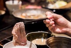 Matsusaka beef Shabu. Matsusaka beef A5 Wagyu Beef Shabu shabu with steam, Groumet Japanese hot pot cuisine Royalty Free Stock Photos