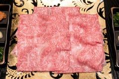 Matsusaka beef Closeup. Matsusaka beef A5 Wagyu Beef Shabu shabu Set Closeup Stock Photography