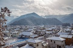 Matsushiro, Ιαπωνία στο χιόνι στοκ εικόνα