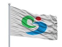 Matsuura City Flag On Flagpole, Japan, Präfektur Nagasaki, lokalisiert auf weißem Hintergrund stock abbildung