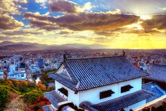 Matsuyama. Castle and  cityscape in the afternoon Royalty Free Stock Photography