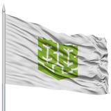 Matsuyama Capital City Flag on Flagpole, Flying in the Wind, Isolated on White Background Royalty Free Stock Image