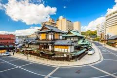 Matsuyama, Japan Skyline. Matsuyama, Japan downtown at the traditional hot springs bathhouse Royalty Free Stock Photos