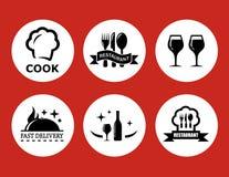Matsymboler för restaurang på röd bakgrund stock illustrationer