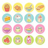 matsymboler st?llde in Samling av produktobjekt stock illustrationer