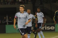 Matt Besler. Defense for the Kansas City Sporting at Providence Park 10,,3,15 Stock Photo