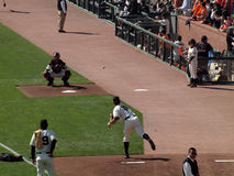 Matt Cain throws in the bullpen to Buster Posey Royalty Free Stock Photos