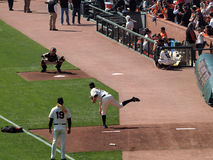 Matt Cain throws pitch to Catcher Stock Image
