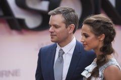 Matt Damon e Alicia Vikander, prima di film di Jason Bourne 2016 Immagine Stock