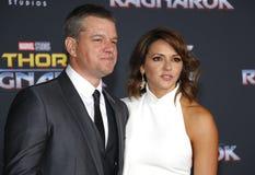 Matt Damon et Luciana Barroso Photo stock