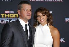 Matt Damon et Luciana Barroso Image libre de droits