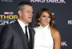 Matt Damon et Luciana Barroso Image stock