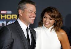 Matt Damon et Luciana Barroso Images stock