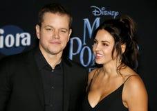 Matt Damon et Luciana Barroso photos libres de droits