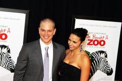 Matt Damon et Luciana Bozan Barroso images libres de droits