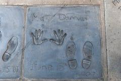 Matt Damon Handprints y huellas foto de archivo libre de regalías