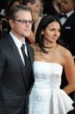 Matt Damon & Luciana Barroso Stock Images