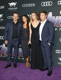 Matt Damon, Luciana Damon, Samantha Hemsworth, Luke Hemsworth stock afbeelding