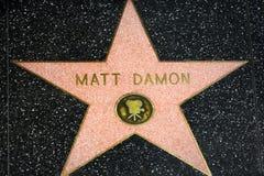Matt Damon Star på Hollywood går av berömmelse Arkivbild