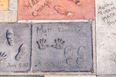 Matt Damons handprints in Hollywood Royalty Free Stock Photography