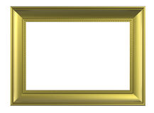 Matt gold frame isolated on white background. Computer generated 3D photo rendering Stock Images