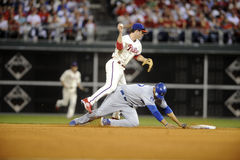 Matt Kemp Chase Utley. Los Angeles Dodger Matt Kemp slides hard into Philadelphia Phillies second baseman Chase Utley breaking up a double play in game 2 of the Royalty Free Stock Photos