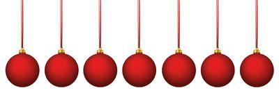 Matt röda kulöra julbollar stock illustrationer
