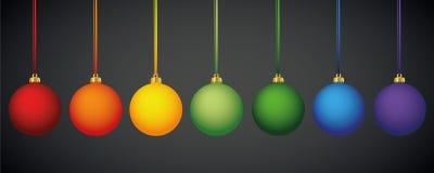 Matt regnbåge färgade julbollar royaltyfri illustrationer