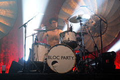 Matt Tong, of Bloc Party band, plays the drums at Razzmatazz Clubs concert. BARCELONA, SPAIN - MAY 4: Matt Tong, of Bloc Party band, plays the drums at Royalty Free Stock Photo