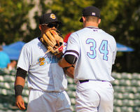 Matt Wotherspoon and 3B Isaias Tejeda Charleston RiverDogs Royalty Free Stock Images