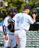Matt Wotherspoon and catcher Rainiero Coa Charleston RiverDogs Stock Photo
