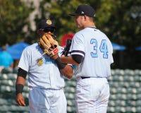 Matt Wotherspoon et 3B Isaias Tejeda Charleston RiverDogs Image libre de droits