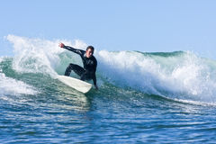 Matt Zehnder surfing in Santa Cruz, California Royalty Free Stock Photos
