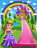 Matta för ungeprinsessa Inviting Enter Castle stock illustrationer