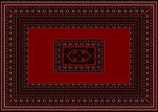 Matta med röda och burgundy detaljer på en svart bakgrund Fotografering för Bildbyråer