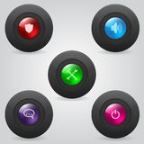 Matte web buttons with shiny inner spheres Stock Photography