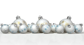 Matte White Christmas Baubles ornamentado Imagem de Stock Royalty Free
