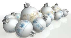 Matte White Christmas Baubles ornamentado Foto de Stock