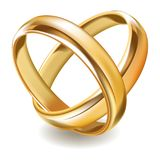 Matted shiny gold wedding rings isolated realistic illustration. Matted shiny gold wedding rings isolated realistic vector illustration on white background Royalty Free Stock Photos