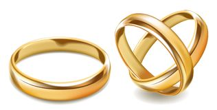Matted shiny gold wedding rings isolated realistic vector illustration. On white background. Universal simple smooth finger accessory made of expensive material Stock Photos