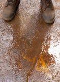 Matten auf nassem rostigem Boden Stockbild