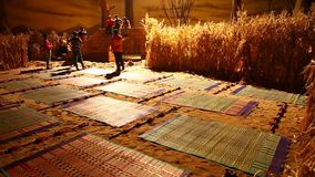 Matten auf Sand am Dorf-Haus stock footage
