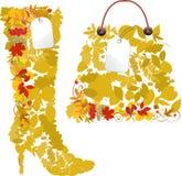 Matten und Beutel von den Herbstblättern. Lizenzfreie Stockbilder