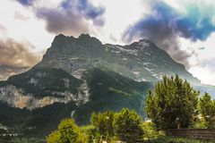 Mattenberg view from the valleys of Grindelwald royalty free stock photography